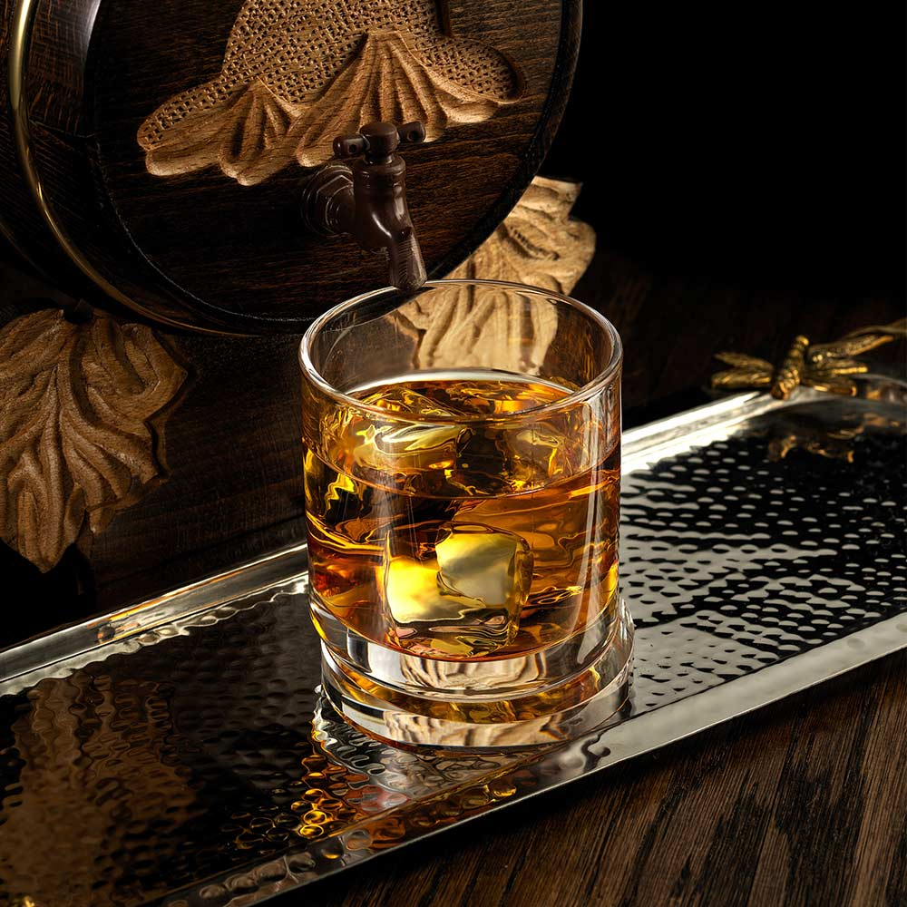 Aqua Vitae Round Crystal Whiskey Glasses