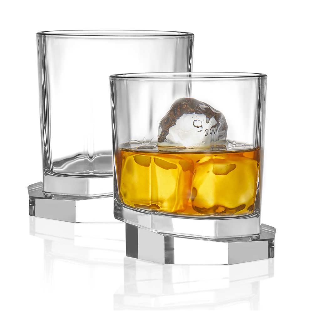 Aqua Vitae<br/>Octagon Crystal Whiskey Glasses<br/>Set of 2
