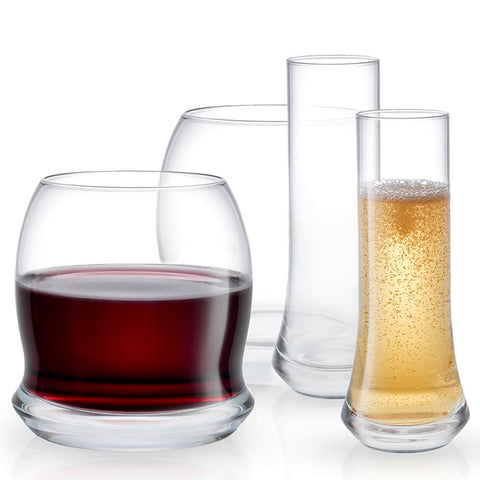 Cosmos Crystal Champagne and Stemless Wine Glasses Set