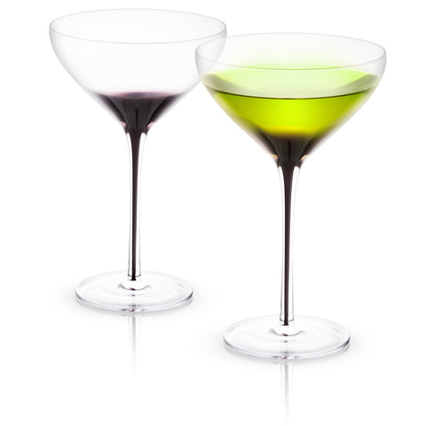 Black Swan Martini and Champagne Glassware Set