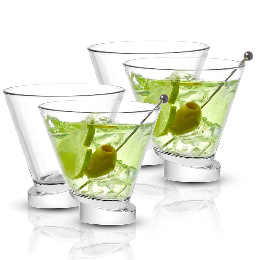 Aqua Vitae Round Crystal Martini Glasses Set of 4