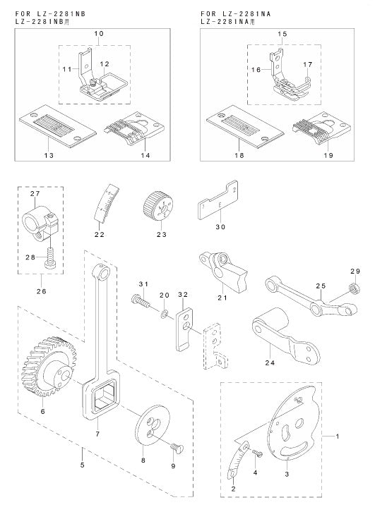 Exclusive Parts For Lz2281n: Sewing Machine Parts Diagram At Downselot.com