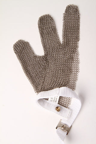 Metal mesh glove - 3 finger - small