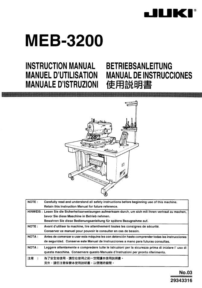 Meb Juki Instruction Manual  Pdf  Abc Sewing Machine