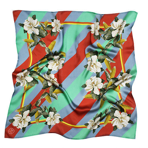 MAGNOLIA & CORN RED SILK SCARF