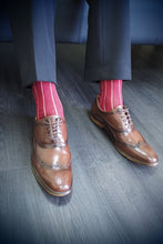Load image into Gallery viewer, PIN STRIPE MEN'S SOCKS - CRIMSON