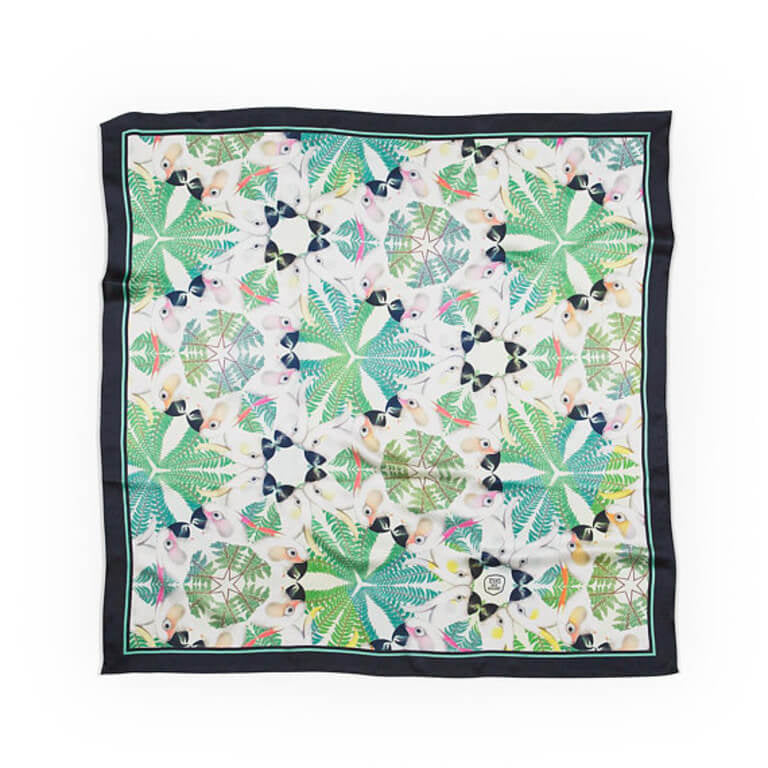 IGUAZU SILK SCARF NAVY BLUE