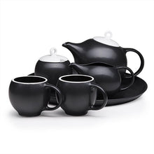 Load image into Gallery viewer, Milk and Sugar set: Beautiful Black and White ceramic Sugar bowl and Creamer