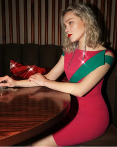 Colour Block Dress - Fushia/Emerald