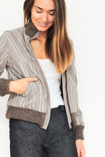 Load image into Gallery viewer, Brown Striped Bomber Jacket
