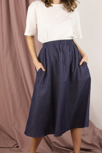 Blue Denim A-Line Skirt