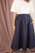 Load image into Gallery viewer, Blue Denim A-Line Skirt