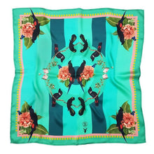 Load image into Gallery viewer, TROPICAL RAINFOREST TEAL SILK SCARF