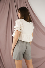 Load image into Gallery viewer, Cream Cropped Short Sleeve Top