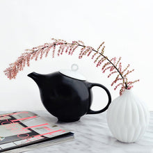 Load image into Gallery viewer, Modern Teapot in Black & White Ceramic | Inspired by Eva Zeisel | Design Award Winner | Published in New York Times