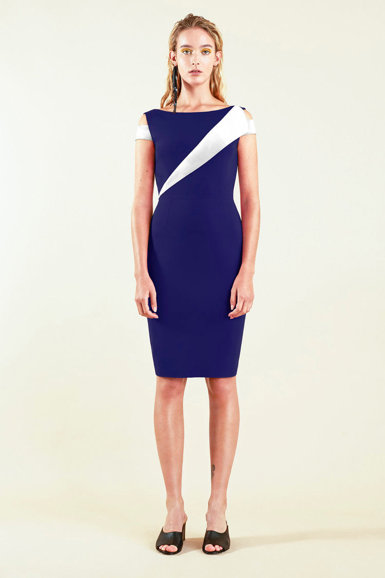 Colour Block Dress - Navy/White
