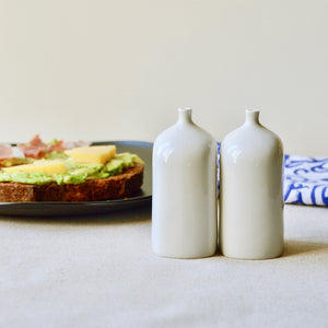 "Porcelain Salt and Pepper shakers - ceramic vial ""s"" and ""p"" set"