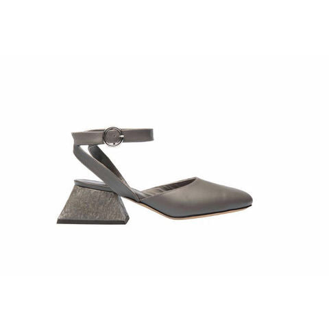 Mules with Ankle Straps- Smoke Grey