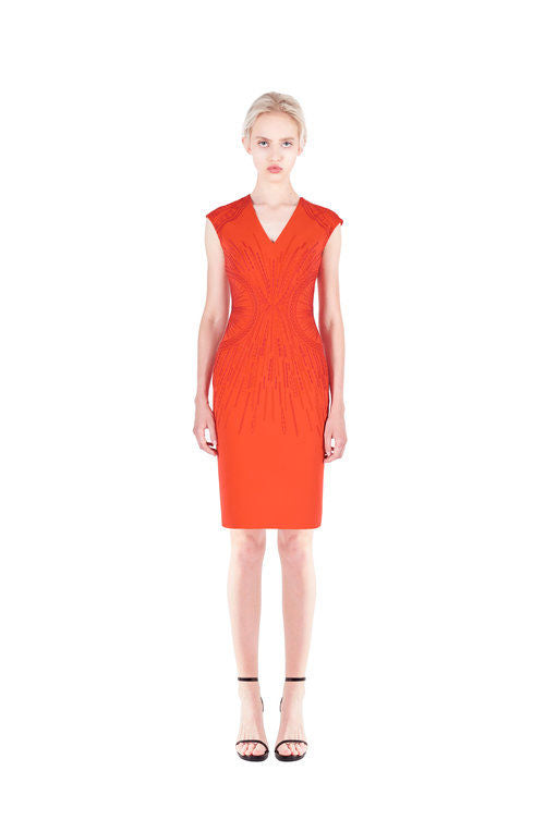 Orange Classic embroidered dress