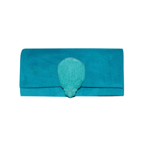Turquoise Toad skin clutch bag