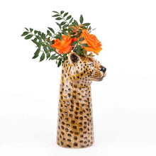 Load image into Gallery viewer, Large Hand- painted  Stoneware Leopard Vase