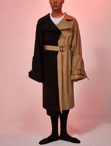 Bi color Trench Coat = Two High Waist Trousers