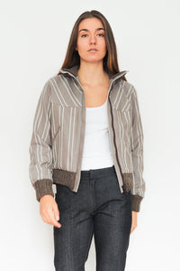 Brown Striped Bomber Jacket