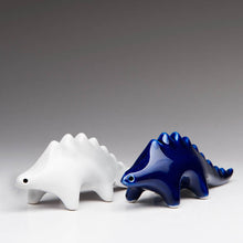 Load image into Gallery viewer, Fun Dinosaur salt and pepper shakers | Blue and white set of 2 | Ceramic Dinosaur Decor | Dragon Sculpture