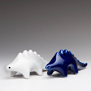 Fun Dinosaur salt and pepper shakers | Blue and white set of 2 | Ceramic Dinosaur Decor | Dragon Sculpture