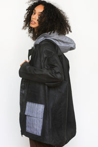 Black Oilskin Hooded Jacket
