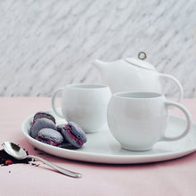 Load image into Gallery viewer, Modern tea set in White & Silver | Porcelain tea service Inspired by Eva Zeisel | Design Award Winner | Published in New York Times