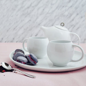 Modern tea set in White & Silver | Porcelain tea service Inspired by Eva Zeisel | Design Award Winner | Published in New York Times