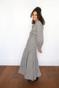 Checked Long Sleeve Maxi Dress