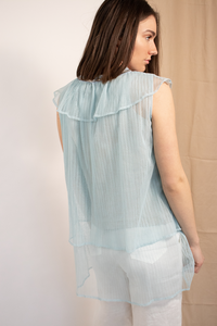 Light Blue Net Frill Top
