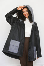Load image into Gallery viewer, Black Oilskin Hooded Jacket