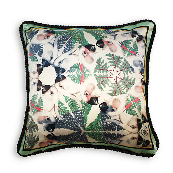 IGUAZU COLLECTION - GREEN PARROTS SILK CUSHION AS SEEN IN ELLE DECORATION SPAIN