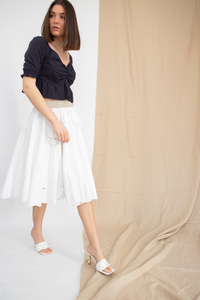 White Upcycled Tablecloth Skirt