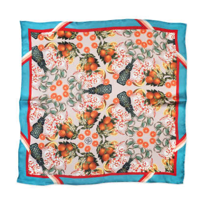 THE DINNER PARTY COLLECTION - PINEAPPLE & PRAWNS SILK SCARF