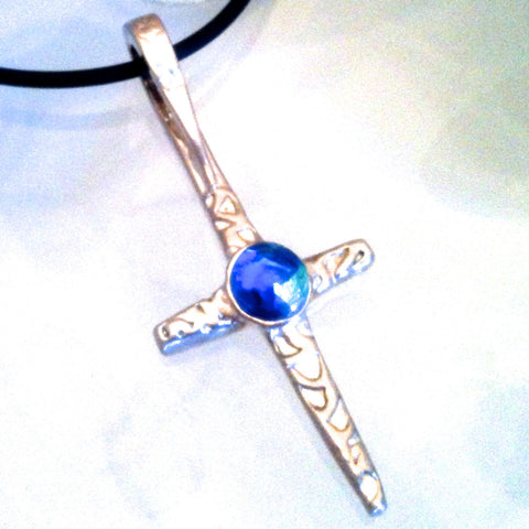 Glass Gem Cross Pendant in .999 Pure Silver