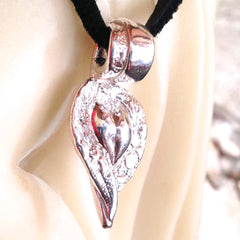 Heart with Lace Wings Pendant in .999 Pure Silver