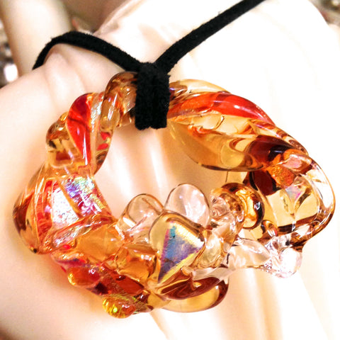 Sculptured Glass Art Pendant in Orange, Amber & Golds