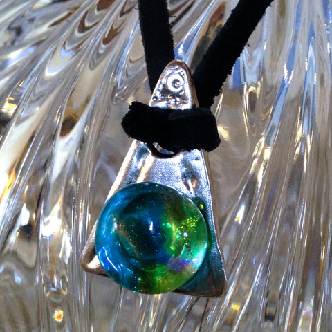 Glass Gem Wedge Pendant in .999 Pure Silver
