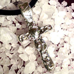 Ocean Textured Cross Pendant in .999 Pure Silver