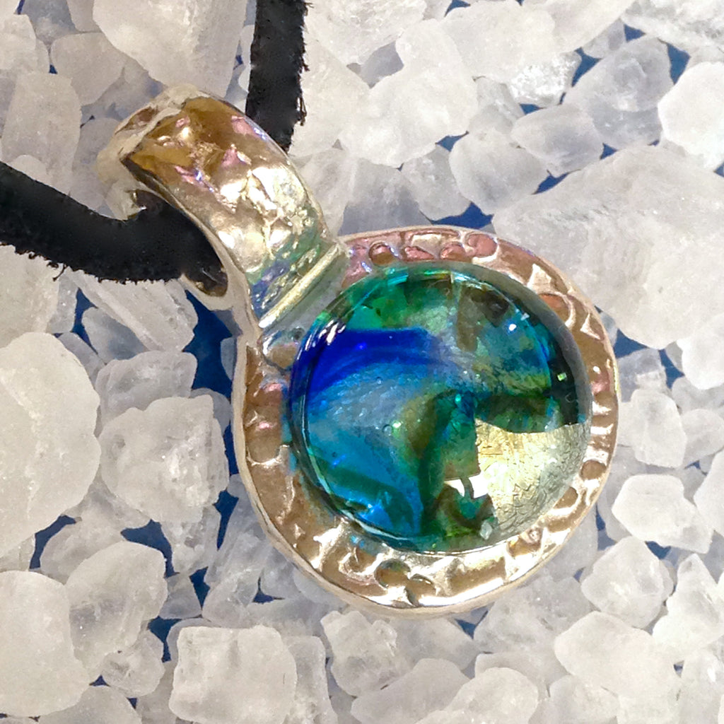 Antiquity Pendant in .999 Pure Silver (Blue-Aqua-Gold Highlights)