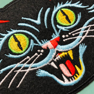 Big Black Cat Embroidered Patch