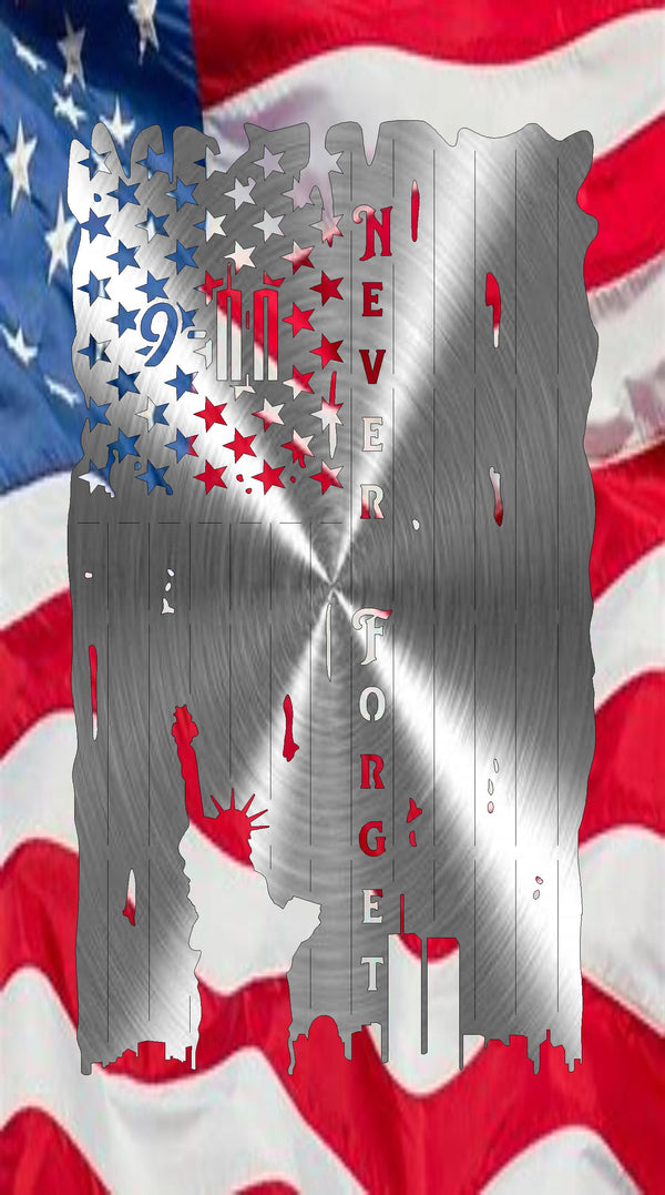 9-11 Commemorative Tattered Flag-Patriotic Decor freeshipping - Price Metal & Fabrication