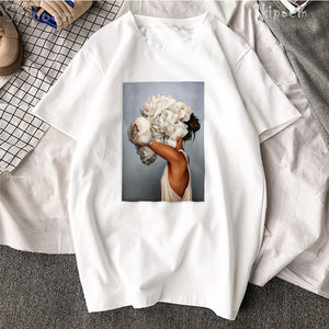 Harajuku Style Sexy Flower Faced Woman Tshirt
