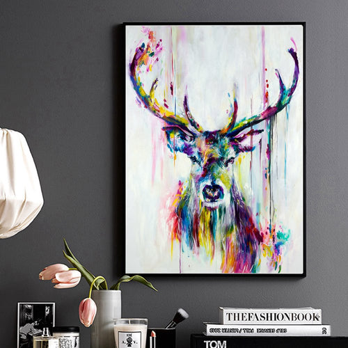 Animal Poster Abstract Print Watercolor Deer Head Stag Wall Art Canvas Painting for Home Office Living Room Wall Decor