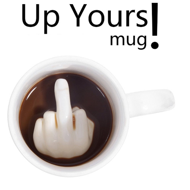 3D Creative Fun Unique Personality Middle Finger Mug for Milk Coffee Ceramic Up Yours Mug Cup Cool Home Decor