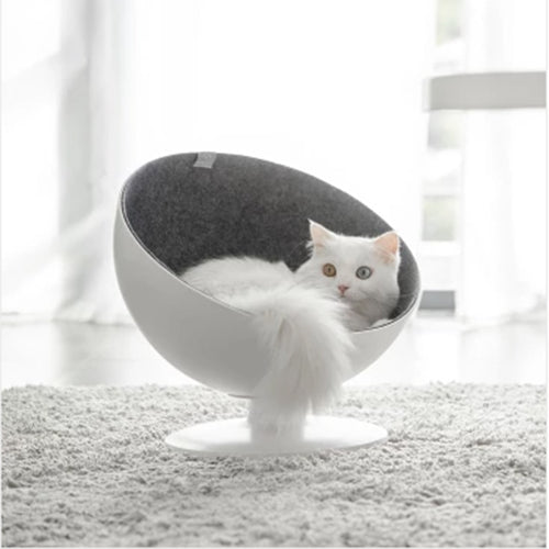 Cat Boss Fiber Spinning Pet Nest White Interactive Rotary Bed Puppy Cave Sleeping Mat Pad Nest Kennel High quality Pets Supplies